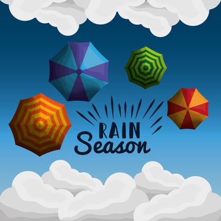 雨季ふわふわの白い雲多くの傘  イラスト・ベクター素材