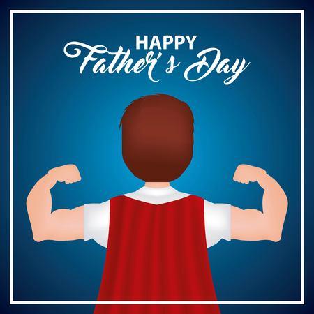gelukkige vaders dag man rode cape beste held papa belangrijke datum vectorillustratie
