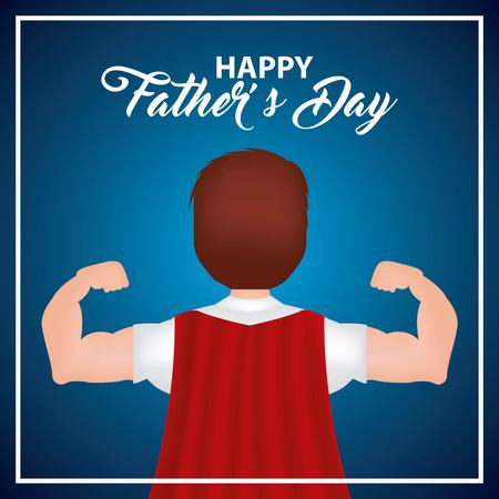 happy fathers day man red cape best hero dad important date vector illustration