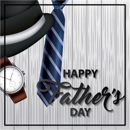 happy fathers day coffee wristwatch blue tie black top hat important date vector illustration
