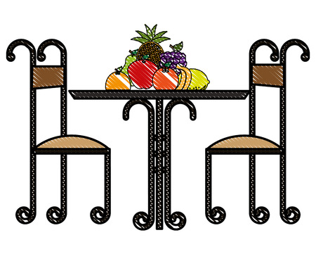 restaurant elegant table with fruits vector illustration design Illustration