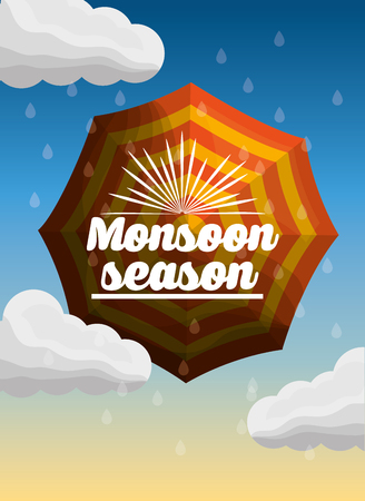 monsoon season striped umbrella rain drops clouds