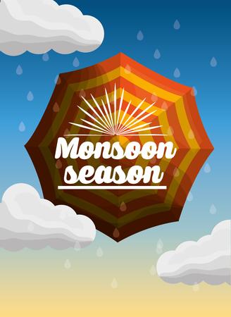monsoon season striped umbrella rain drops clouds