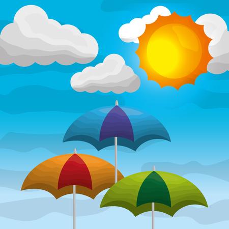 summer and rain season - colored umbrellas in the sky clouds sunshine