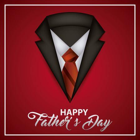 happy fathers day neck suit elegant tie best date vector illustration