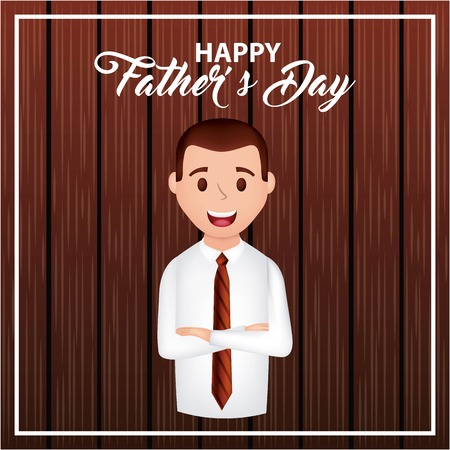 happy fathers day man with arms crossed wood background smiling casual suit vector illustration