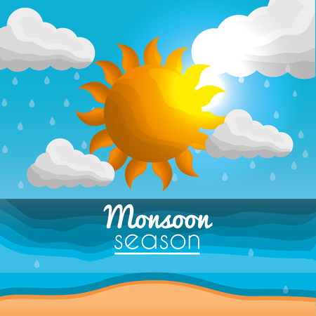 monsoon season beach sea sky clouds sun Illustration