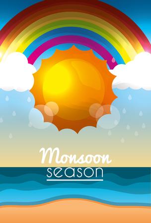 monsoon season sunshine day clouds rainbow beach ocean Çizim