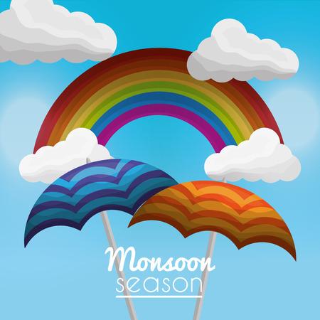 monsoon season colored rainbow clouds sky umbrellas