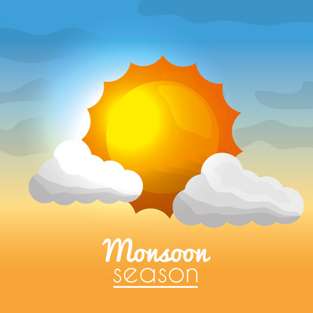 monsoon season bright sun clouds and blurred card