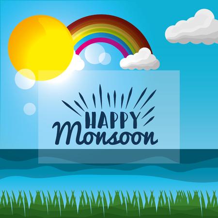 happy monsoon season colored rainbow sunshine day cloud blur meadow sea