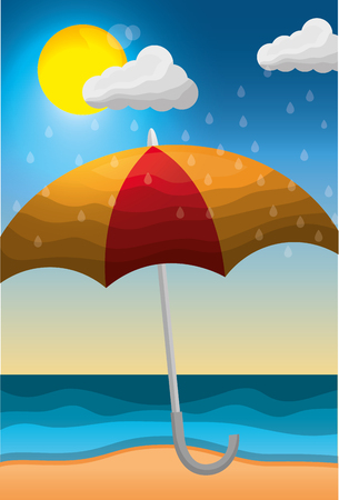 summer and rain season - beach open umbrella rainy and sun clouds