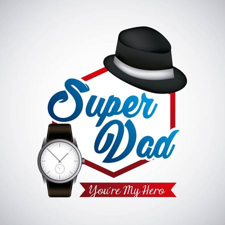 happy fathers day super dad black hat hero wristwatch vector illustration