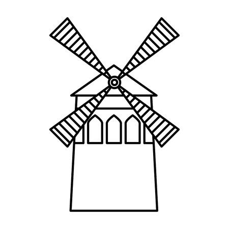 windmill farm traditonal building image vector illustration outline Illusztráció