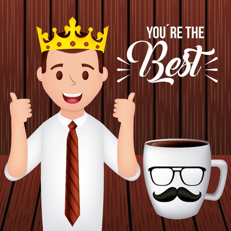 happy fathers day man with fingers up smiling cup coffee moustache wood background vector illustration