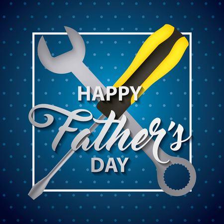 happy fathers day stripes background screwdriver key tools vector illustration