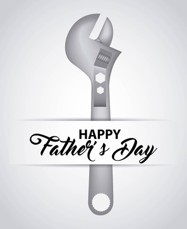 happy fathers day white background tool key vector illustration