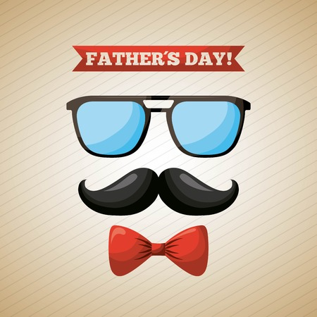 happy fathers day degrade background happy day mustache re bow fashion glasses vector illustration Stock Vector - 99750362