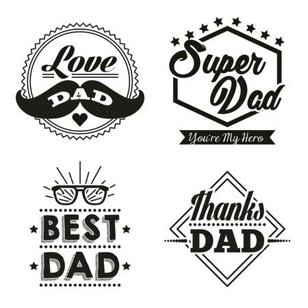 Feliz día del padre pegatinas con bigote mejores gafas de papá superhéroe ilustración vectorial