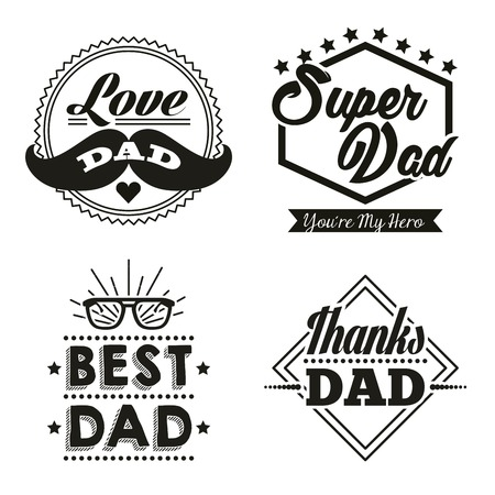 happy fathers day stickers with mustache best dad glasses super hero vector illustration