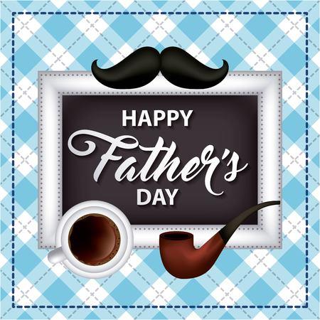 Feliz día del padre fondo cuadrado letrero taza café bigote fumar pipa ilustración vectorial Foto de archivo - 99750366