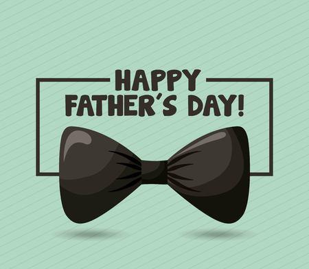 happy fathers day big black bow elegant date frame with sign vector illustration Ilustração