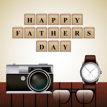 wood cubes glasses camera wristwatch celebration happy fathers day vector illustration