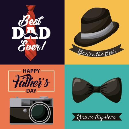 happy fathers day set with hat camera moustache best dad ever love vector illustration