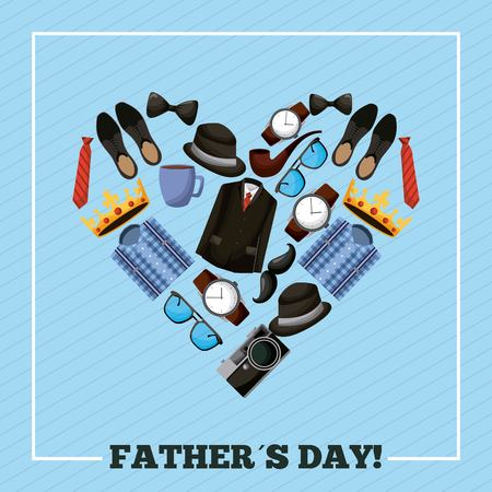 happy fathers day heart with clothing accessories for men vector illustration
