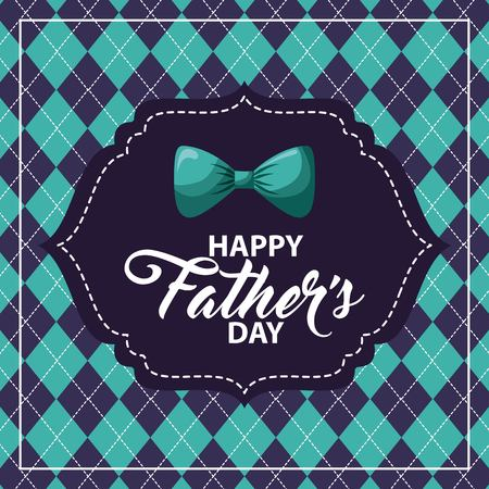 happy fathers day rhombus background blue bowtie label image vector illustration