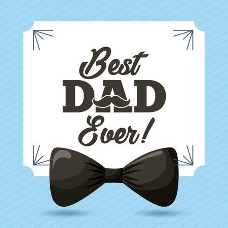 happy fathers day best dad ever celebration fest black bow frame decoration vector illustration Ilustração