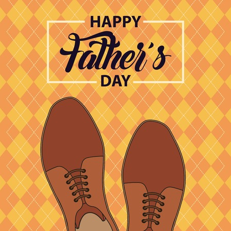 happy fathers day colorful gridded background coffee shoes casual vector illustration