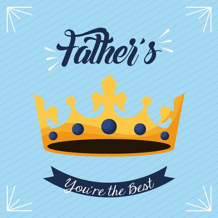 happy fathers day the best dad love yellow crown king important date vector illustration Archivio Fotografico - 99749735