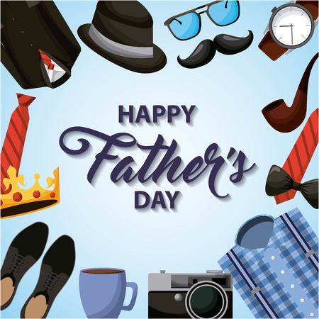 happy fathers day degrade backgorund accessories for men perfect date vector illustration Çizim