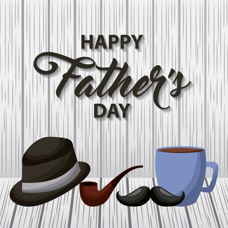 happy fathers day stripe background hat smoking pipe cup coffee moustache vector illustration