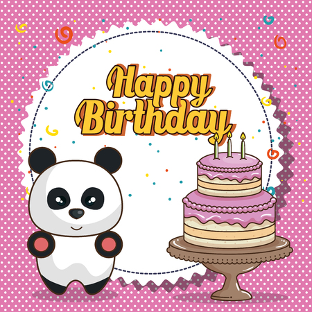 happy birthday card with bear teddy vector illustration design Illustration