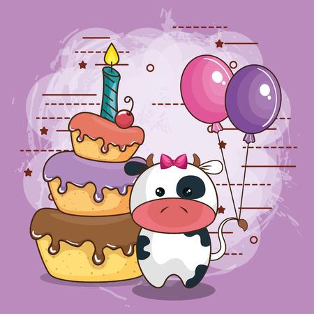 happy birthday card with bear teddy vector illustration design Illustration