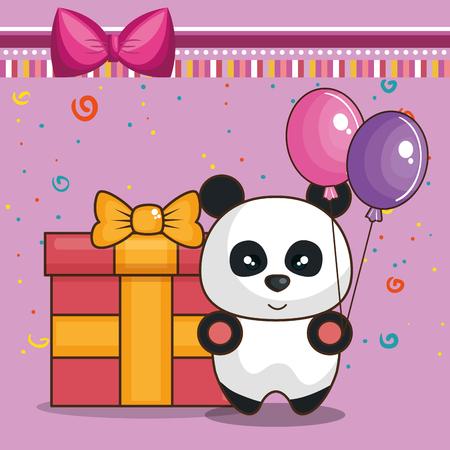 happy birthday card with bear teddy vector illustration design Ilustração