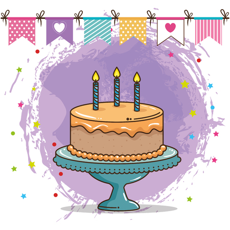 happy birthday card with sweet cake vector illustration design Illustration