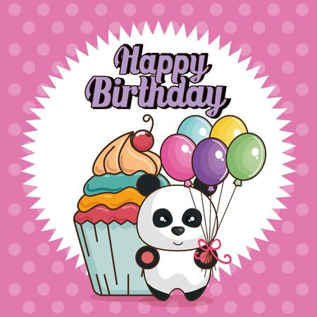happy birthday card with bear teddy vector illustration design 일러스트