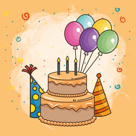 happy birthday card with sweet cake vector illustration design Vettoriali