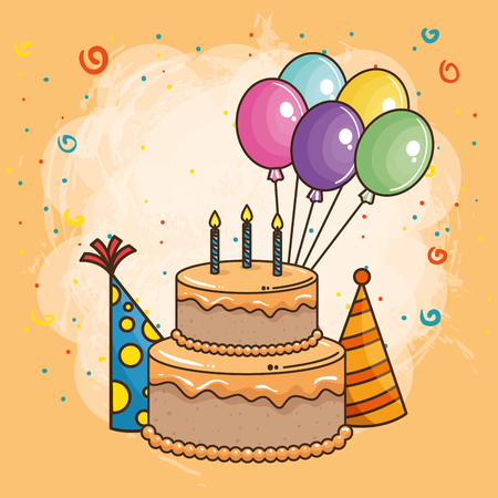 happy birthday card with sweet cake vector illustration design Vectores