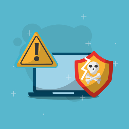laptop warning shield skull bones cyber security vector illustration