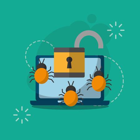 laptop computer unlocked bugs virus cyber security vector illustration
