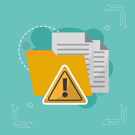 フォルダデータ警告警告攻撃サイバーセキュリティベクトル図