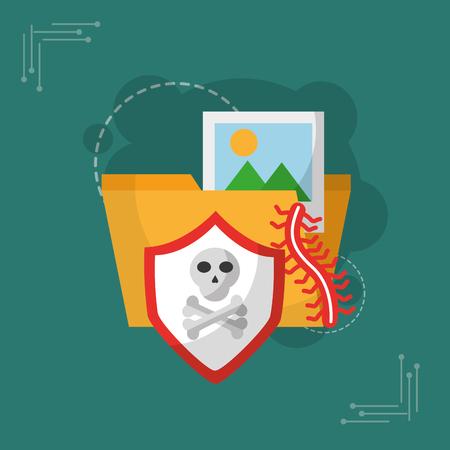 map fotoalbum schild schedel virus cyber beveiliging vector illustratie Stock Illustratie