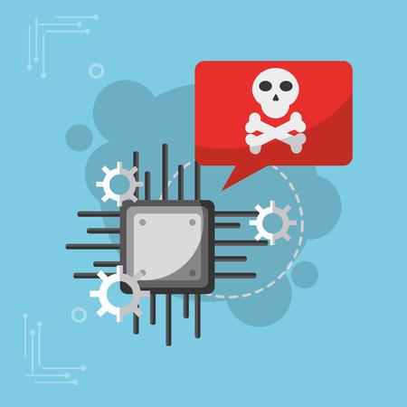 motherboard skull bones settings cyber security vector illustration Çizim