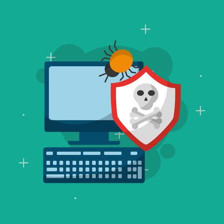 cyber security shield bug virus danger vector illustration Illustration
