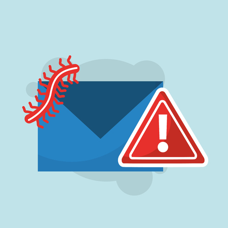 A cyber security email message communication spam warning illustration. Stock Illustratie