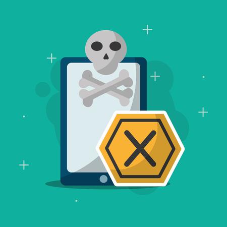 A cyber security smartphone skull bones and error sign illustration.
